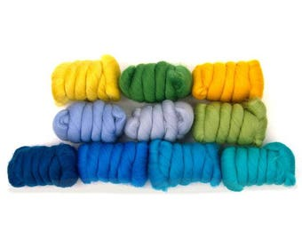 SALE Summer Holiday Merino Variety Pack - 10 colors - 25 grams each color = 250 grams or 8.8 oz total to Spin, Felt, Card, Fiber Art, Create