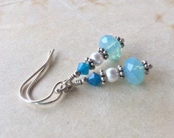 Shades of Ocean blue swarovski crystal earrings in silver