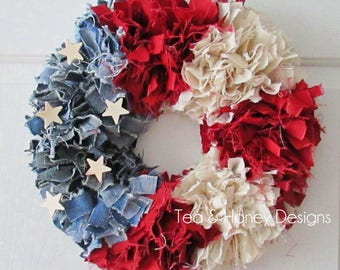 "Patriotic Wreath, 16"" July 4th Rag Wreath, Americana, Rustic, Shabby Decor Round"