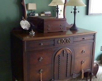 Antique Victorian Dresser With Mirror, Antique Walnut Dresser, JK Rishel Dresser, Early 20th Century, Pennsylvania Made, Local Pickup Only