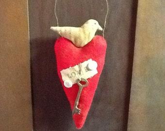 Primitive Doll  Valentines Day Dove Ornie ready to ship