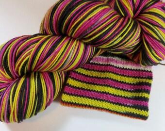Handpainted Superwash Merino/Nylon 4-ply Sock Yarn -- Perfect Threesomes Striping Yarn for Socks or Gloves -- Licorice Whipped
