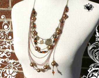Chinoiserie Copper Layered Charm Necklace