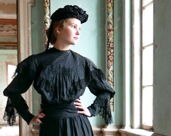 Late Victorian Black Summer Blouse XS