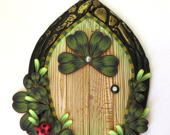 Leprechaun Door Pixie Portal with a Ladybug Polymer Clay Miniature for Fairy Gardens and Home