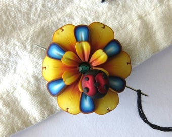 Yellow Flower Needle Minder with a Ladybug, Magnetic Needle Nanny Handcrafted from Claybykim