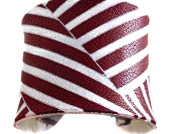 Leather Cuff Bracelet in Dark Red and White Candy Stripe - by UNEARTHED