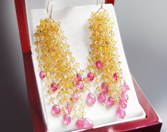 Valentines Day Sale - Yellow and Hot Pink Sapphire Dangle Earrings - CUSTOM Made to Order Just for You