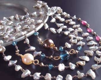 ON SALE - CUSTOM Made to Order - Long Japanese Saltwater Keishi Pearl Necklace with London Blue Topaz, Hot Pink Sapphire, and Pyrite