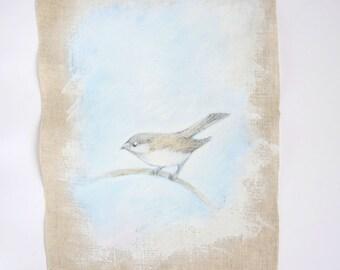 Mini textile art original mixed media painting on linen fabric. little bird on branch. Brown,white, blue, neutrals
