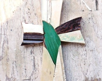 Rustic Mosaic Cross, Reclaimed Wood Cross, Religious Decor,Boho Cross Christian Wall Art Wood Wall Cross Wood Wall Art Bohemian Decor