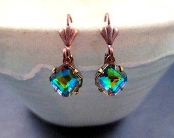 Rhinestone Dangle Earrings, Vitrail Colored Glass, Copper Drop Earrings, FREE Shipping U.S.