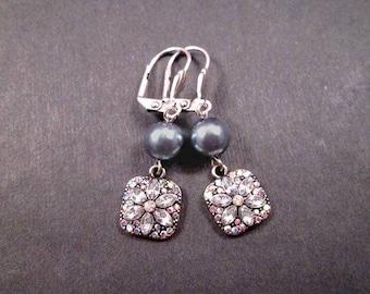 Pearl Earrings, Rhinestone Flower Earrings, Silver Dangle Earrings, FREE Shipping U.S.
