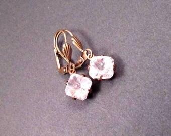 Rhinestone Earrings, White Glass Stones and Brass Dangle Earrings, FREE Shipping U.S.