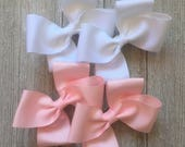 You Choose,White Hair Bows,Light Pink Hair Bows,With Option To Buy Both Pairs,French Barrettes,4.5 Inches,Pigtail Hair Bows,Ready to Ship