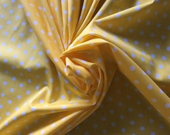 "Sunny Yellow with White Polka Dot Pimatex 100% Cotton broadcloth fabric by robert kaufman 2582 3/8"" wife dot"