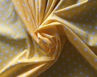 "Sunny Yellow with White Polka Dot Pimatex 100% Cotton broadcloth fabric by robert kaufman 2582 3/8"" wife dot"
