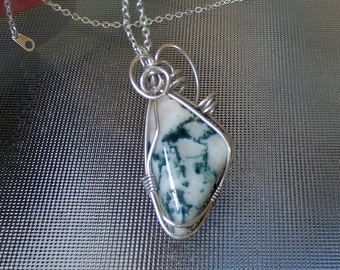 Polished Moss Agate Sterling Silver gemstone wire wrapped pendant
