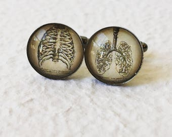 Lungs and Rib Cage Cufflinks - The Chest - Anatomical Cuff Link Set - Great for Pulmonologist