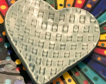 "Ceramic Stoneware Trinket Dish Ring Holder Heart 3.5"" Fog Weave Ready to Ship TNK00037"