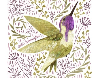 Costa's Hummingbird Art Print - square digital illustration by Stephanie Fizer Coleman