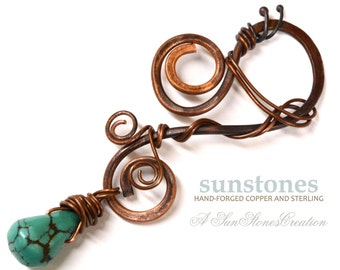 Turquoise and Copper Pendant Component PN342