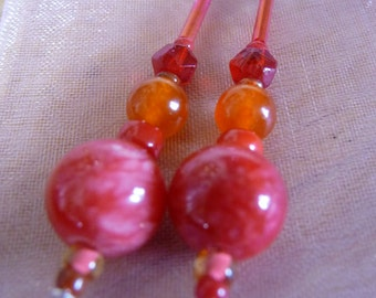 Cherry Bombs. Red orange glass vintage jewelry earrings gift for her Valentines dangle