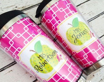 ON SALE Personalized Travel Tumbler with Teacher Apple Design