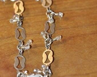 Spring Sale Vintage Sterling Funky Linked Bracelet with Dangles