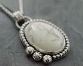 Howlite Pendant. White Turquoise Necklace. Silver Howlite Necklace. White Stone Pendant. Gemstone Pendant. Howlite Cabochon.