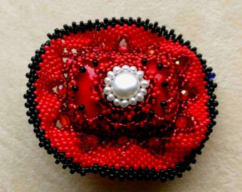 Beadwoven Red Sombrero Hat Brooch, Cinco de Mayo, Beaded OOA Kind Headpiece Pin, Sun Hat Brooch - Bead Lace Brooch by enchantedbeads on Etsy