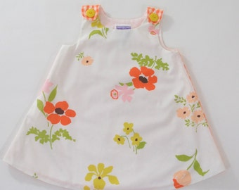 Girls' Dress, Toddler Girls' Dress, Orange Floral & Gingham Easter Dress, Birthday Dress, Girls' Pinafore, Sundress Size 18 - 24 months