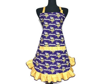 Minnesota Vikings Apron for women , Retro Style Ruffle , adjustable with pocket , Purple and Gold , Football kitchen decor , Frilly , Flirty