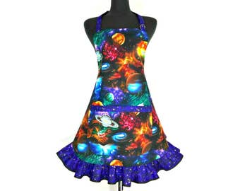 Outer Space Apron , Astronomy , Planets , Galaxies, Sci Fi , Retro Kitchen Ruffle , Geek Girl , Cosmos , Neil deGrasse Tyson inspired