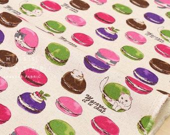 Japanese Fabric - cat macarons - natural - 50cm