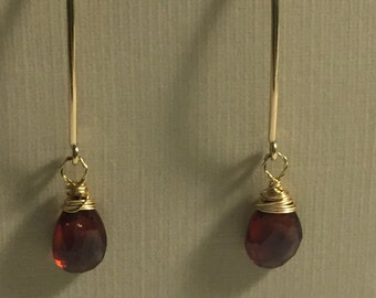 Garnet and 14 karat gold fill dangle earrings, January birthstone