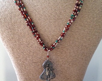 MARCH MADNESS SALE Reduced, Bronze Metal Clay and Seed Bead Necklace, Warrior Woman Bronze Pendant with Bronze, Gold and Green Seed Bead, Et