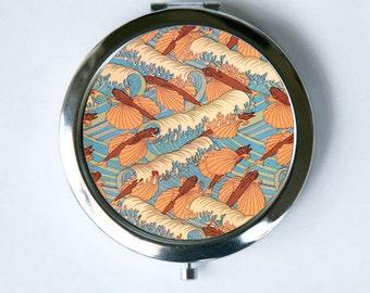 Art Nouveau Flying Fish Waves Compact Mirror Pocket Mirror design Pattern
