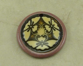 "Mauve Butterfly Disk Pendant - Three Butter Fly Motif with Ivory and Mocha Brown - Clay River Designs 1 1/4"" Diameter I ship Internationally"