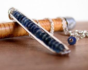 Blue Sapphire Pod Necklace. Gemstone Bar Necklace. Sapphire Necklace. Sapphire Pendant Necklace.