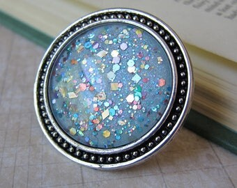 Prism Collection: Faerie Charm - XL Color-shifting Iridescent Glitter Adjustable Ring
