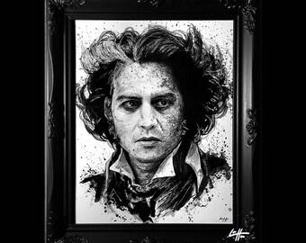 Sweeney Todd - Original Illustration - Johnny Depp Demon Barber Dark Art Horror Blood Murder Death Gothic Halloween London Tim Burton