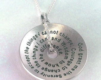 Serenity Prayer Domed Pendant by donnadodesigns
