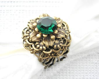 Emerald Isle Antiqued Brass Vintage Style Adjustable Ring
