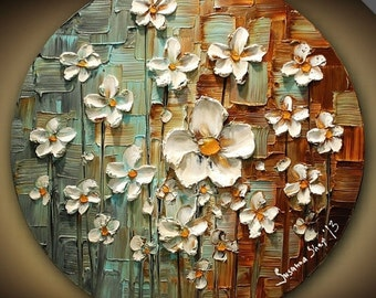ORIGINAL Contemporary White Daisy Flowers Painting Abstract Textured Modern Art by Susanna