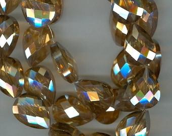 18x13mm Golden Yellow Faceted Teardrop Crystal Beads Tear Drop Beads