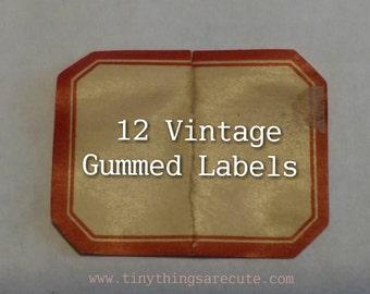 12 x Dennison's Vintage Gummed Labels - style no. 205