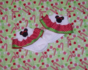 Minnie Mouse Applique Red and Green Swiss Dot Double Ruffle Ribbon Socks - Christmas - Disney Vacation Trip