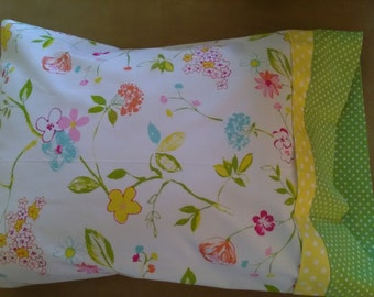 Handmade pillowcase travel Spring Flowers Floral bouquet  pillow comfort bedroom linens neck support back support