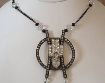 Vintage European Art Deco Rhinestone Pendant with Paste Glass Center, Faceted Crystals and Black Metal Chain, Necklace with Earrings